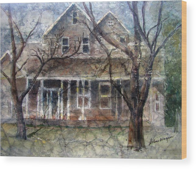 House Wood Print featuring the mixed media Brown Batik House by Arline Wagner