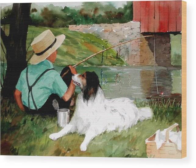 Amish Wood Print featuring the painting Buddies by Faye Ziegler