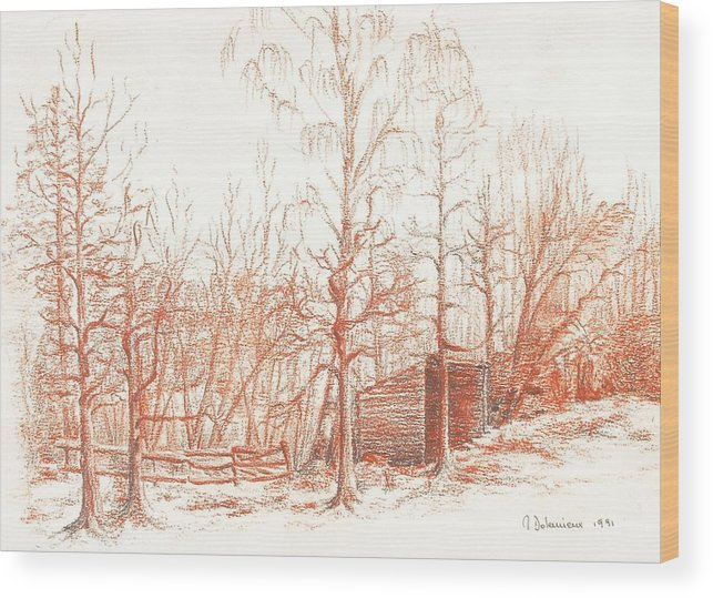 Landscape Wood Print featuring the drawing Bullion by Muriel Dolemieux