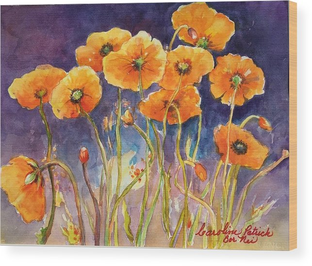 California Poppies Wood Print featuring the painting California Poppies by Caroline Patrick