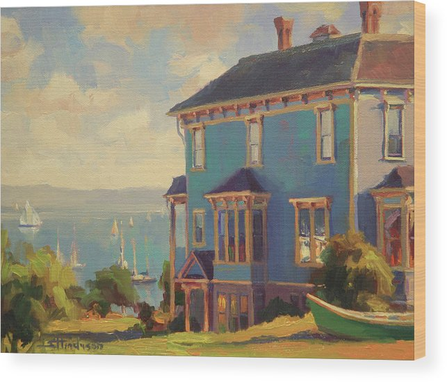 Coast Wood Print featuring the painting Captain's House by Steve Henderson