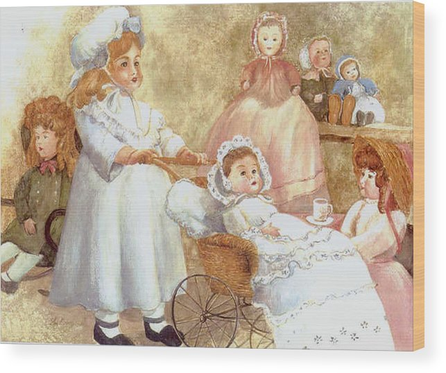 Dolls;toys;antiques;doll Carraige; Wood Print featuring the print Caroline's Dolls by Lois Mountz