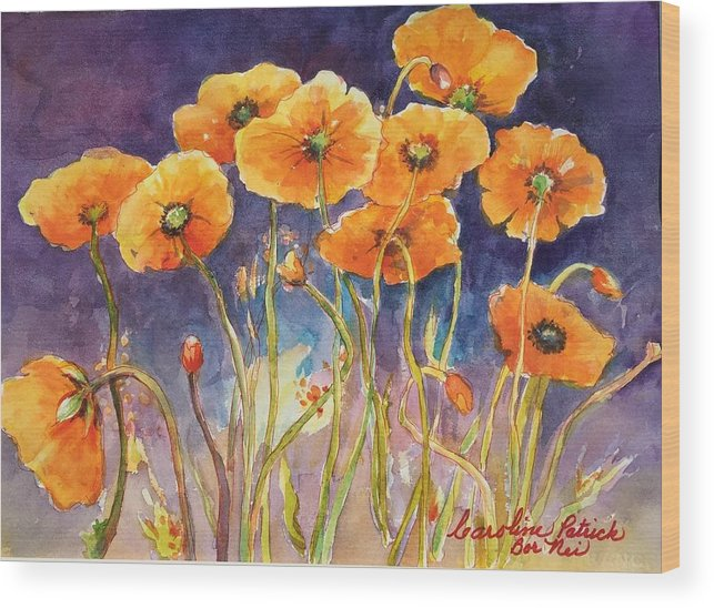 Poppies Wood Print featuring the painting Catching The Light by Caroline Patrick