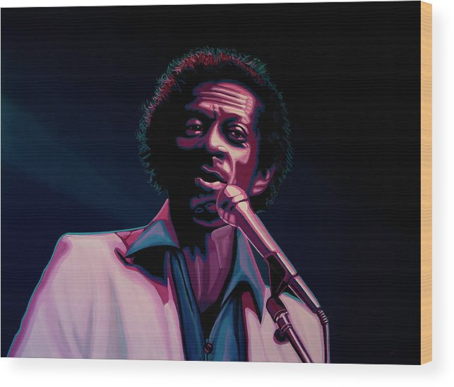 Chuck Berry Wood Print featuring the painting Chuck Berry by Paul Meijering