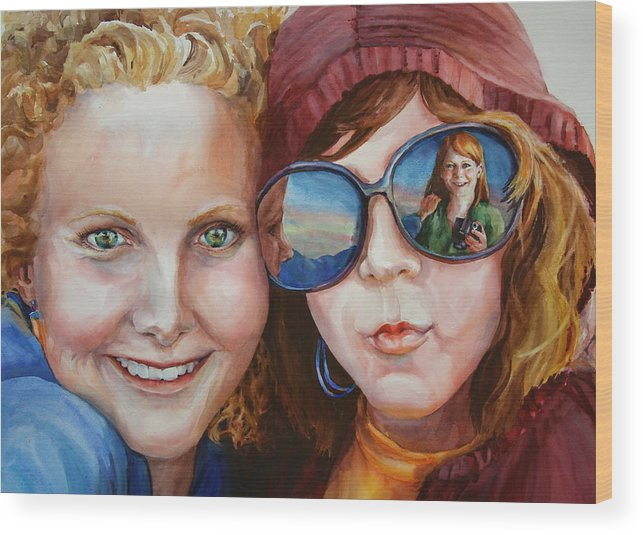Portrait Wood Print featuring the painting Circle of Sisters by Carolyn Epperly
