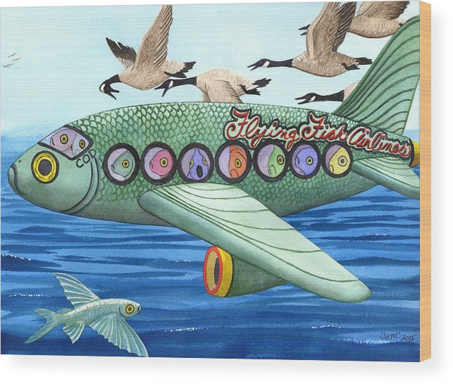 Flying Fish Wood Print featuring the painting Cod is my co-pilot by Catherine G McElroy