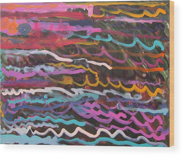 Abstract Wood Print featuring the mixed media Colored Waves by Sabrina Cataldo