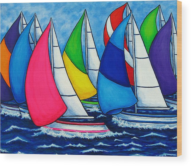 Boats Wood Print featuring the painting Colourful Regatta by Lisa Lorenz