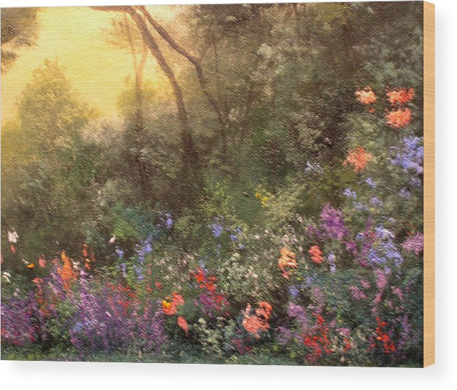 Connie Tom Wood Print featuring the painting Corner of the Garden by Connie Tom