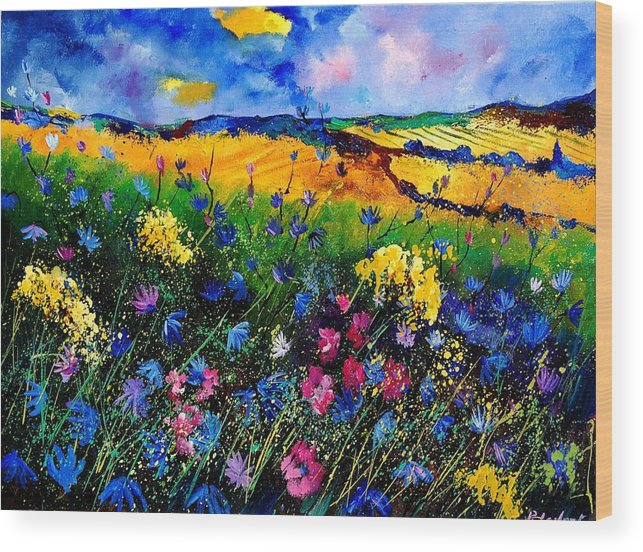 Flowers Wood Print featuring the painting Cornflowers 680808 by Pol Ledent