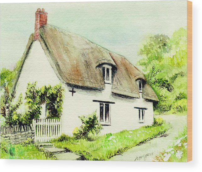 Country Wood Print featuring the painting Country Cottage England by Morgan Fitzsimons