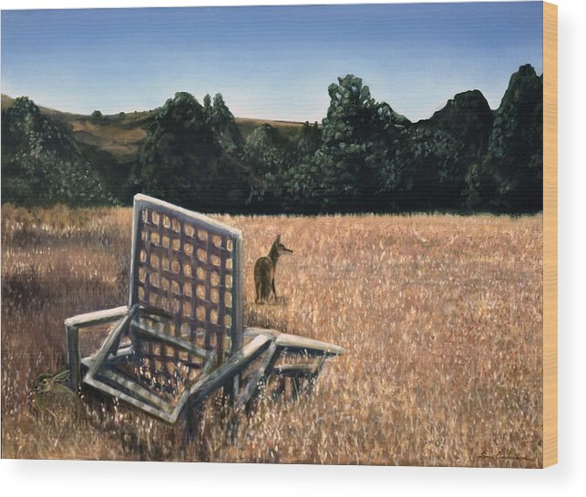 Animals Wood Print featuring the painting Coyote And Rabbit by Lance Anderson