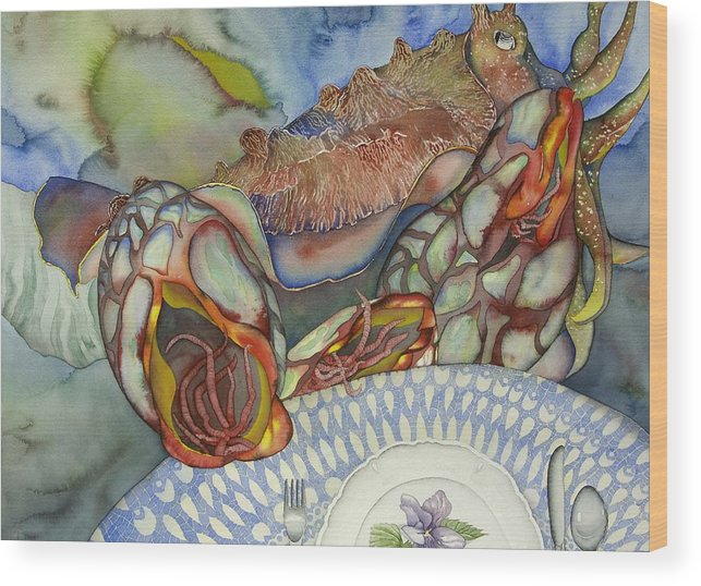 Sea Wood Print featuring the painting Cuttlefish anyone by Liduine Bekman