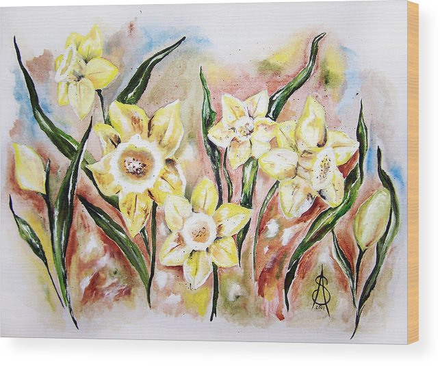 Floral Wood Print featuring the painting Daffodil Drama by Amanda Sanford
