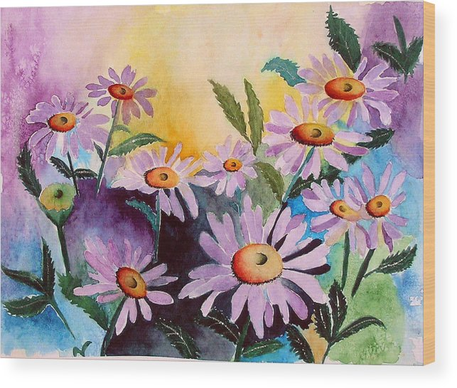Daisies Wood Print featuring the painting Daisies by Mary Gaines