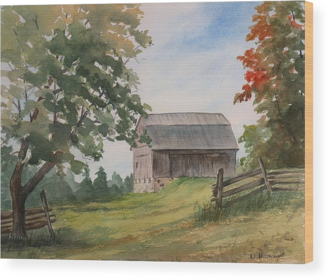 Barn Wood Print featuring the painting Disappearing Heritage by Debbie Homewood
