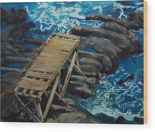Dock Wood Print featuring the painting Dock by Travis Day