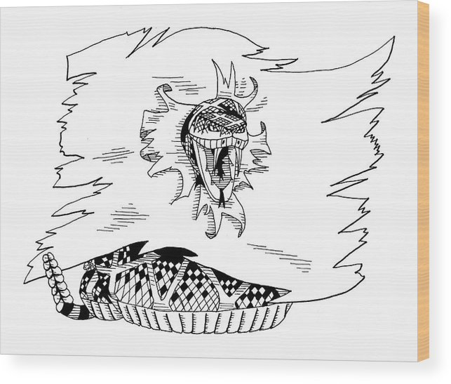 Rattle Snake Wood Print featuring the drawing Don't Tread On Me or Gadsden Flag by Scarlett Royal
