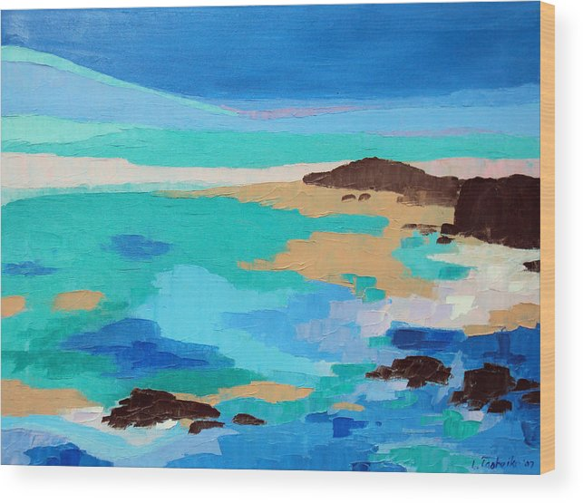 Maine Wood Print featuring the painting Dream Scape 14 by Laura Tasheiko