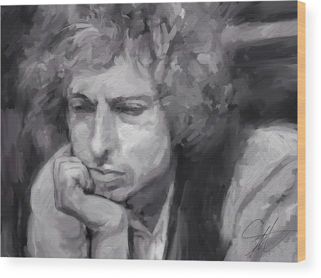 Bob Dylan Music Portrait Musician Rock Wood Print featuring the digital art Dylan by Scott Waters