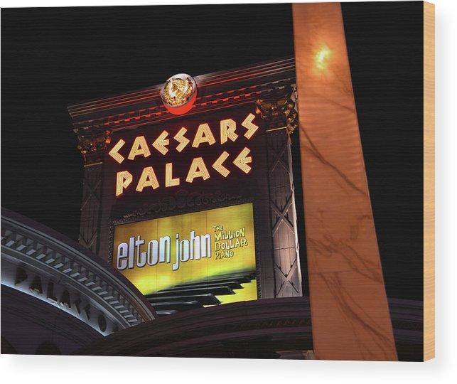 Elton John Wood Print featuring the photograph Elton John at Caesars Palace 2011 2018 by David Lee Thompson