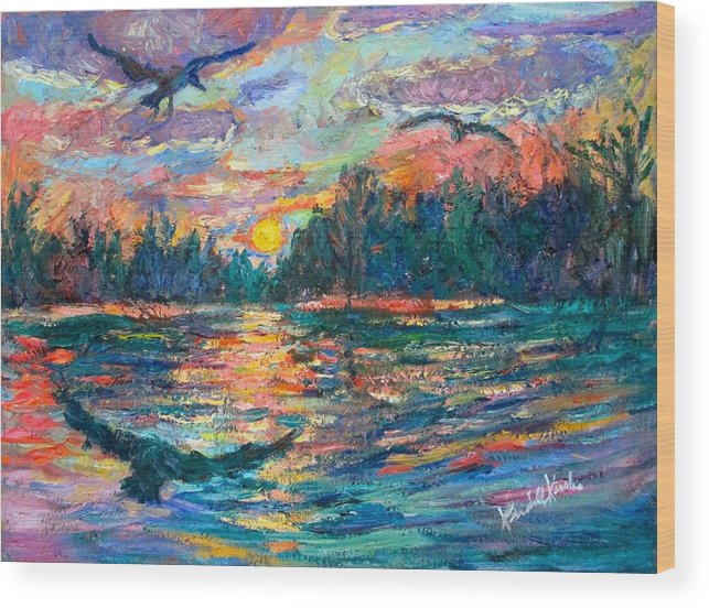 Landscape Wood Print featuring the painting Evening Flight by Kendall Kessler