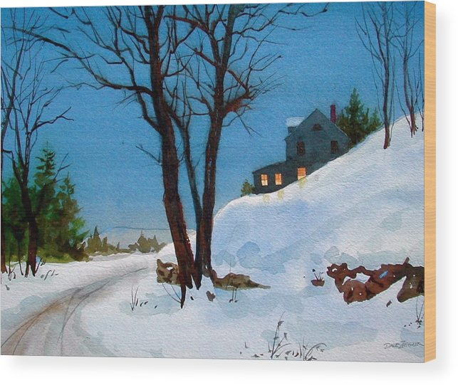 Snow Wood Print featuring the painting Evening Snow by Faye Ziegler