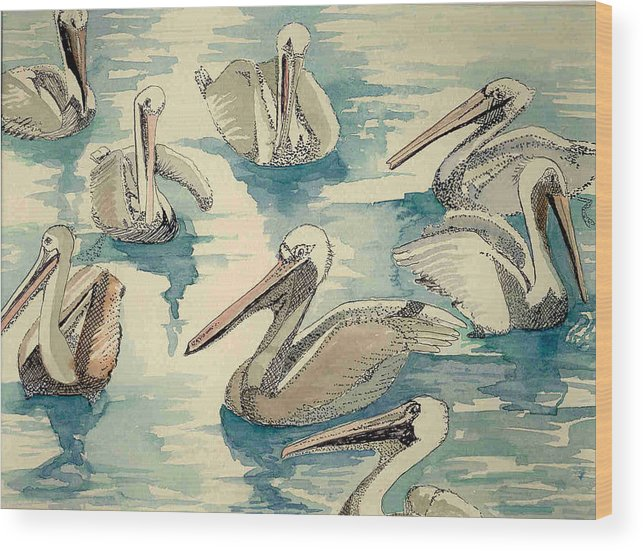 Pelicans Wood Print featuring the painting Feeding Pelicans by Rebecca Marona