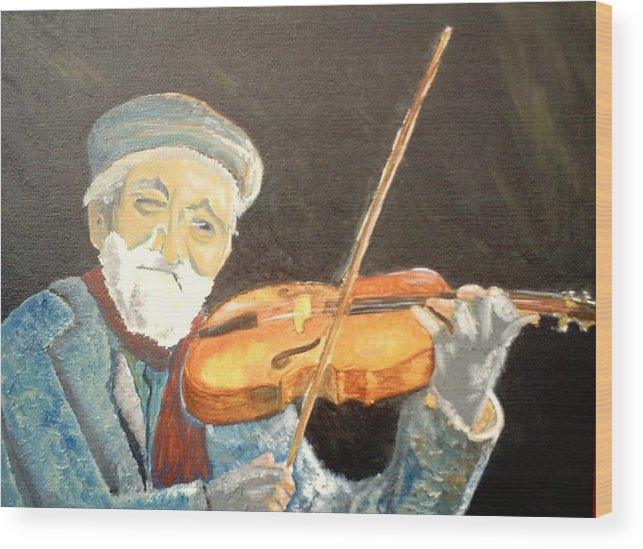 Hungry He Plays For His Supper Wood Print featuring the painting Fiddler Blue by J Bauer