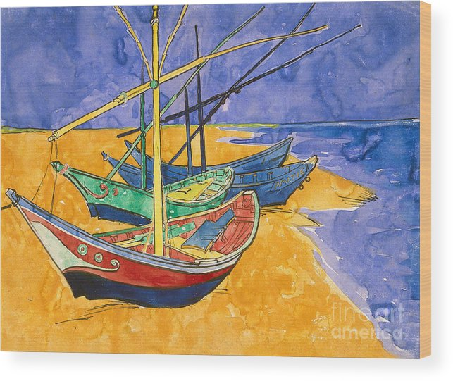 Fishing Wood Print featuring the painting Fishing Boats on the Beach at Saintes Maries de la Mer by Vincent Van Gogh