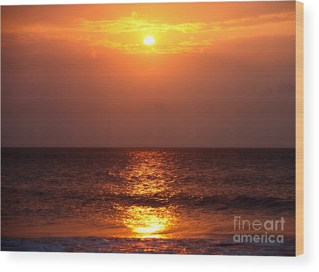 Sunrise Wood Print featuring the photograph Flaming Sunrise by Nadine Rippelmeyer