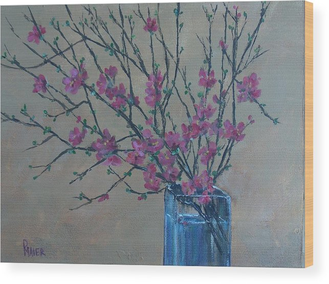 Flowers Wood Print featuring the painting Flowering Quince by Pete Maier