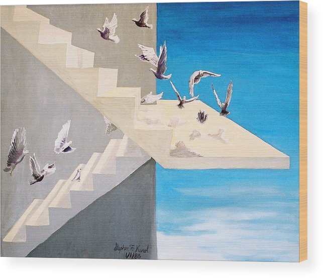 Birds Wood Print featuring the painting Form Without Function by Steve Karol
