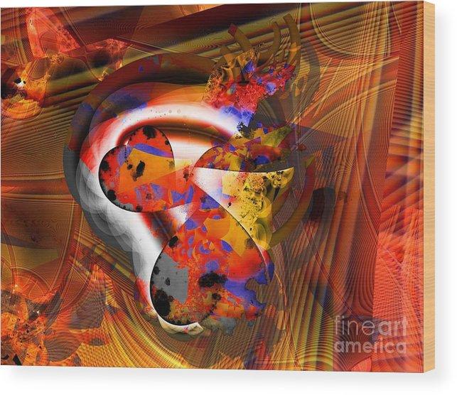 Heart Wood Print featuring the digital art Fractal Heart by Ron Bissett