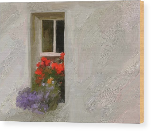 Art Painting Landscape Wood Print featuring the digital art Galway Window by Scott Waters