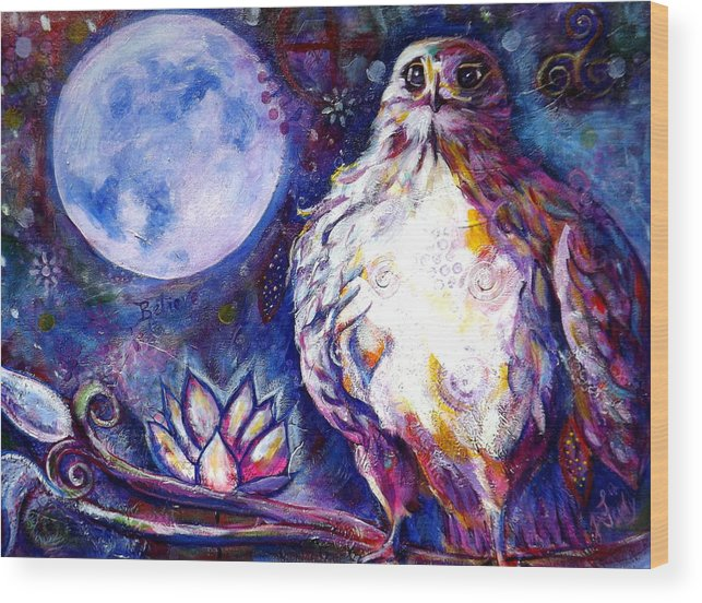 Goddess Wood Print featuring the painting Goddes Hawk by Goddess Rockstar