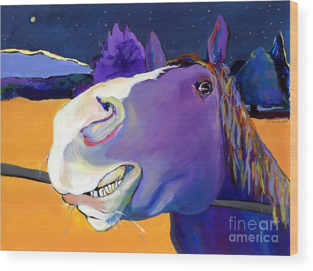 Barnyard Animal Wood Print featuring the painting Got Oats   by Pat Saunders-White