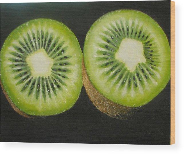 Kiwi Wood Print featuring the painting Green kiwi oil painting by Natalja Picugina