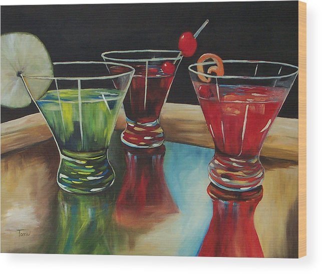 Cosmopolitan Wood Print featuring the painting Happy Hour 2007 by Torrie Smiley