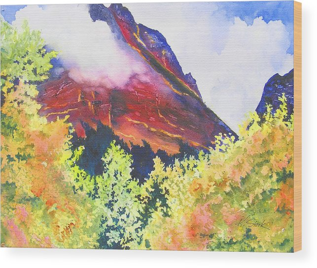 Mountain Wood Print featuring the painting Heights of Glacier Park by Karen Stark