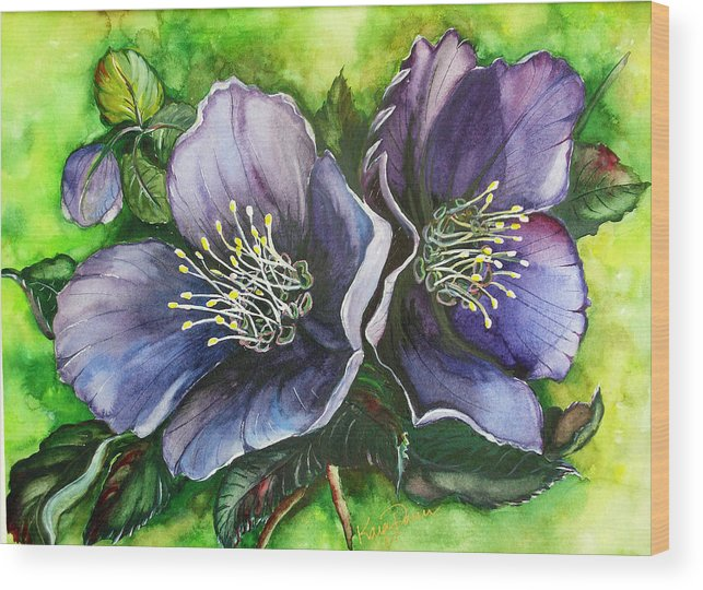 Flower Painting Botanical Painting Original W/c Painting Helleborous Painting Wood Print featuring the painting Helleborous Blue Lady by Karin Dawn Kelshall- Best