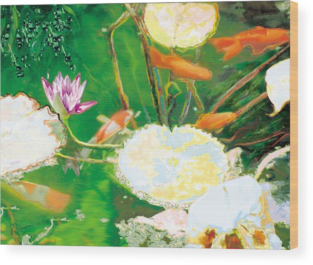 Koi Wood Print featuring the photograph Hide And Seek Kio In The Green Pond by Judy Loper