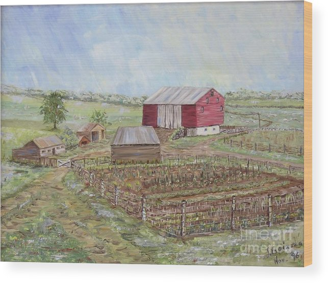 Red Barn With Several Other Small Sheds; Garden In Foreground; Landscape Wood Print featuring the painting Homeplace - The Barn and Vegetable Garden by Judith Espinoza