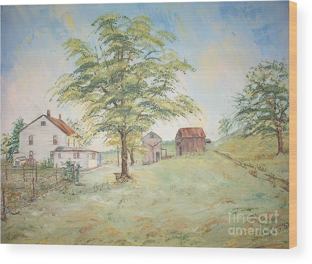 White House; 2 Sheds; Green Tree In Foreground; Set Of 4 Homeplace Prints For $100.00 Wood Print featuring the painting Homeplace - The Farmhouse by Judith Espinoza
