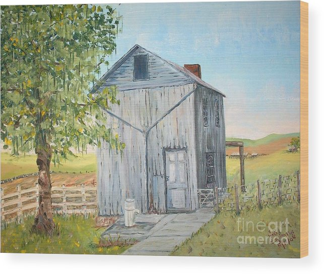 Old Gray Building Beside Green Tree; 2 Kinds Of Fence Wood Print featuring the painting Homeplace - The Washhouse by Judith Espinoza