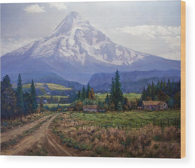 Mt Hood Oregon From Hood River Valley Wood Print featuring the painting Hood River Valley by Donald Neff