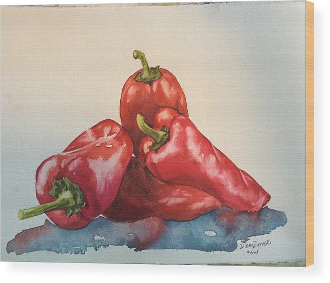 Watercolor Wood Print featuring the painting Hot peppers by Diane Ziemski