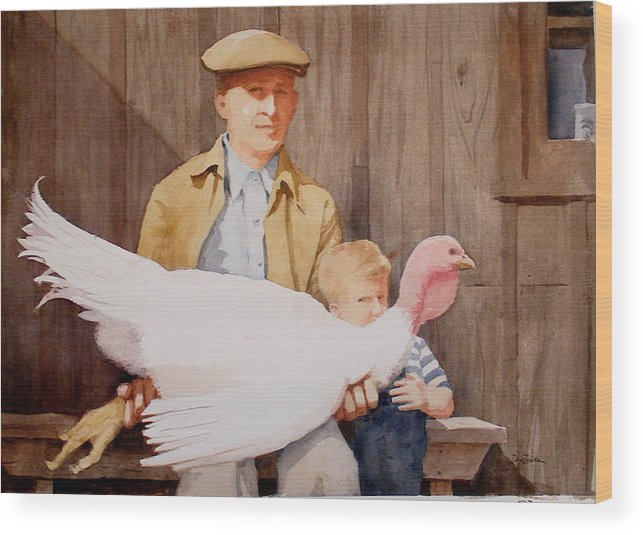 Farmer Wood Print featuring the painting Ivan and Two Toms by Faye Ziegler