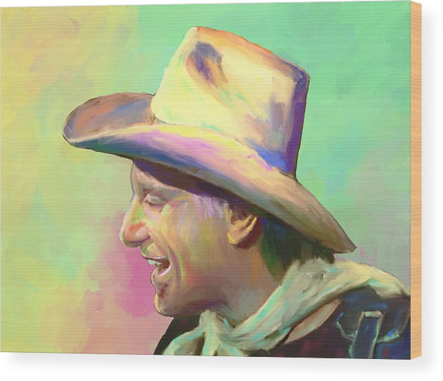Jerry Jeff Walker Wood Print featuring the mixed media Jerry Jeff The Gypsy Songman by G Cannon