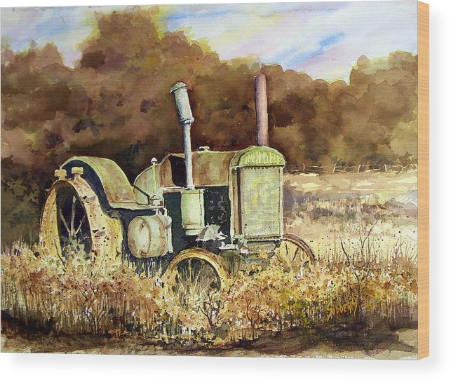 Tractor Wood Print featuring the painting Johnny Popper by Sam Sidders